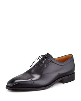 Cap-Toe Balmoral Calfskin Lace-Up, Black