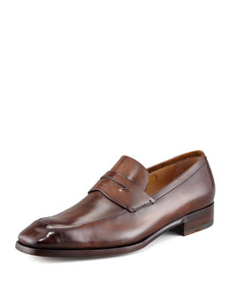 Silvano Sassetti Leather Penny Loafer, Brown