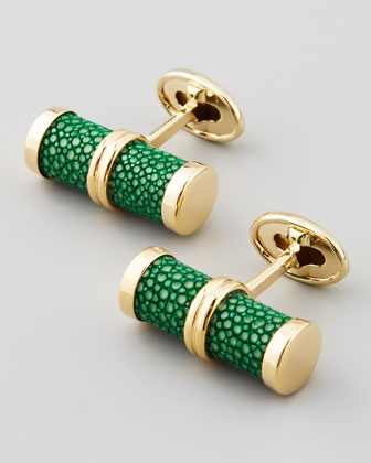 Stingray Bar Cuff Links, Green