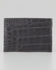 Crocodile Card Holder, Gray