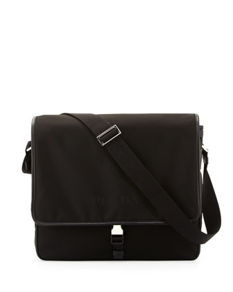 Nylon Messenger Bag, Black