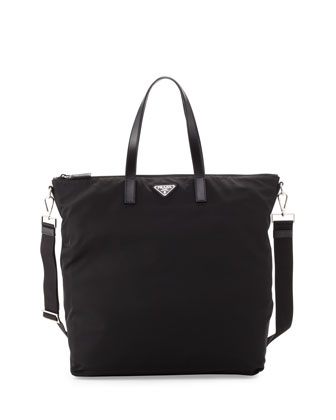 Men's Gabardine Nylon Midsize Tote Bag, Black