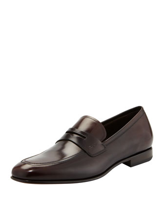 Ruggero Leather Penny Loafer, Dark Brown