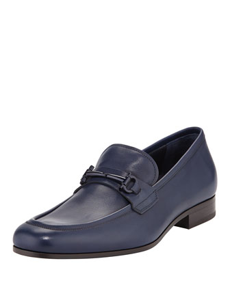 Ravenna Gancini Leather Loafer, Blue