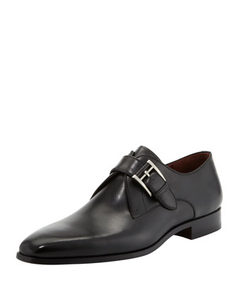 Plain-Toe Single-Monk Shoe, Black