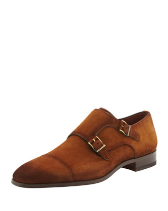 Suede Cap-Toe Double-Monk Shoe