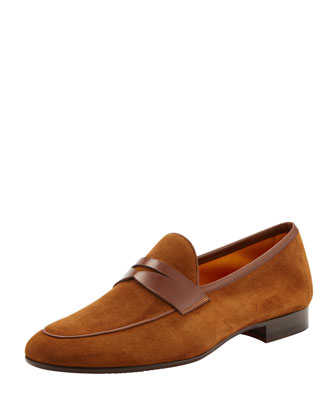 Suede Apron-Toe Penny Loafer, Light Brown