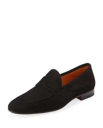Suede Apron-Toe Penny Loafer, Black