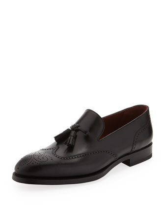 Leather Wing-Tip Tassel Slip-On