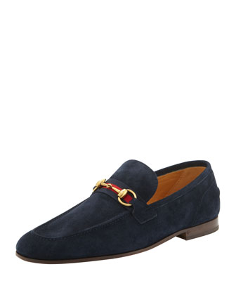 Horsebit Web-Stripe Slip-On, Navy