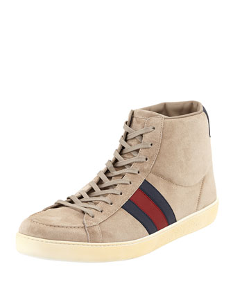 Suede Side-Stripe Mid-Top Sneaker