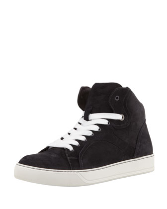 Nubuck High-Top Sneaker, Charcoal