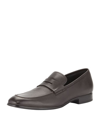 Rocco Leather Penny Loafer, Dark Brown