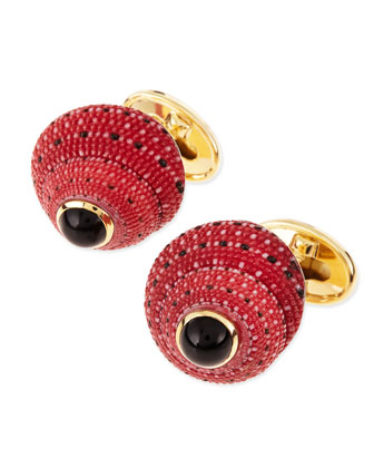 Red Shell Cuff Links with Black Onyx Center