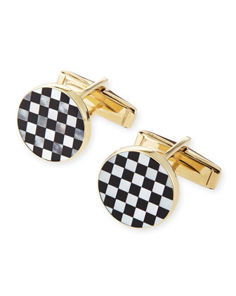 14k Checkerboard Cuff Links with Black Onyx and Mother-of-Pearl