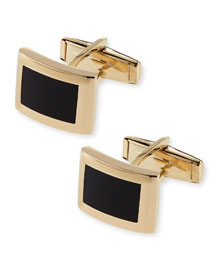 14k Curved Rectangle Cuff Links with Black Onyx