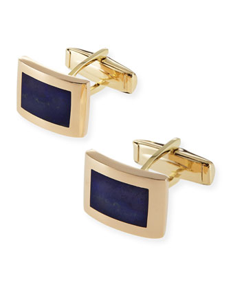 14k Curved Rectangle Cuff Links with Lapis
