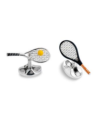 Sterling Silver Tennis Racket Cuff Links