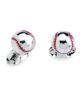 Sterling Baseball Cuff Links