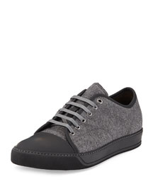 Felted Cap-Toe Low-Top Sneaker