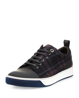 Plaid Felt & Leather Sneaker, Blue/Red