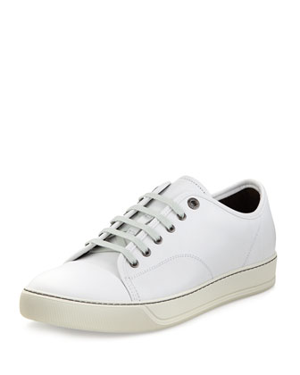Polished Leather Low-Top Sneaker, White
