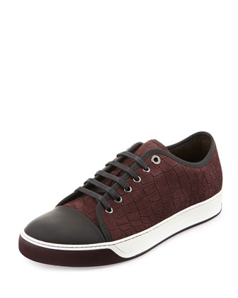 Croc-Embossed Nubuck Low-Top Sneaker, Plum