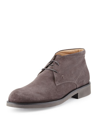 Light-Sole Suede Chukka Boot, Gray