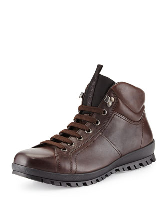 Leather Lace-Up Hiking Sneaker, Brown