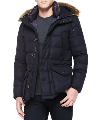 Rethel Fur-Trim Hooded Jacket, Navy