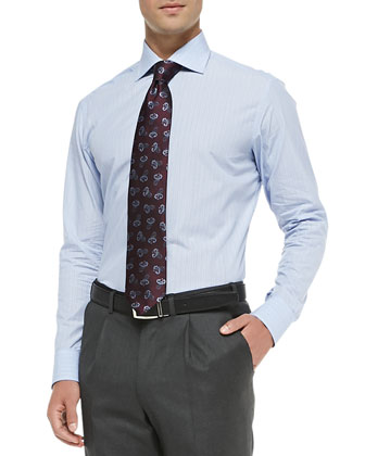 End-on-End Stripe Dress Shirt, Blue