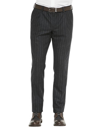 Flannel Chalk-Stripe Trousers, Charcoal