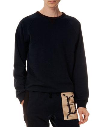 Huster Grosgrain-Shoulder Sweatshirt