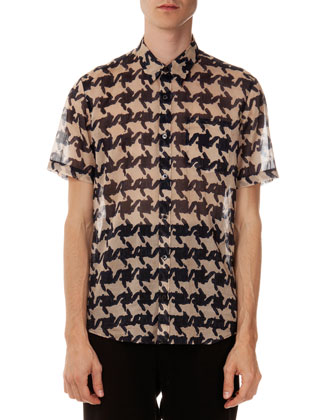 Large-Houndstooth Voile Shirt
