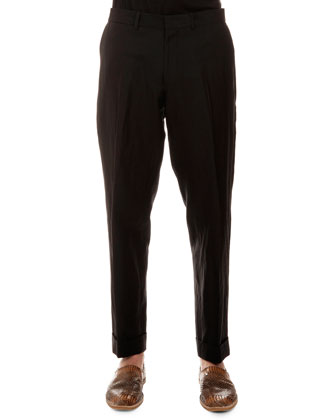 Philip Linen-Blend Trousers, Black