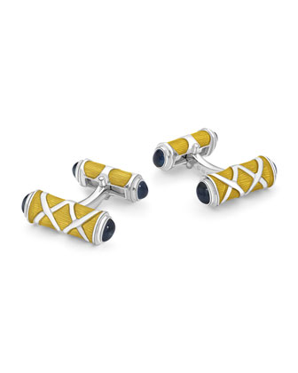 Bar Cuff Links with Sapphire