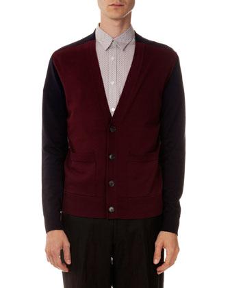 Colorblock Cardigan Sweater, Burgundy