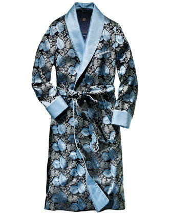 Leaf-Print Silk Robe, Navy