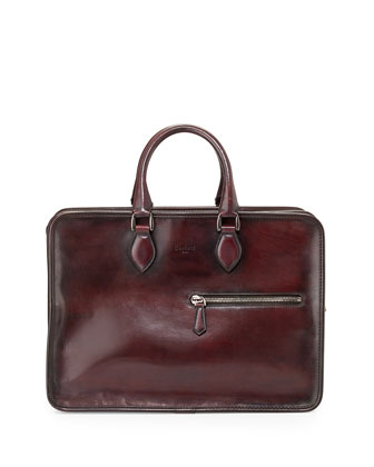 Deux Jours Leather Briefcase, Red