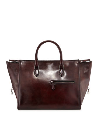 Jour Et Nuit Leather Duffel Bag, Red