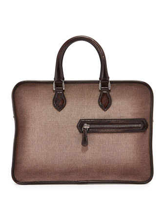Un Jour Canvas & Script Leather Briefcase, Taupe