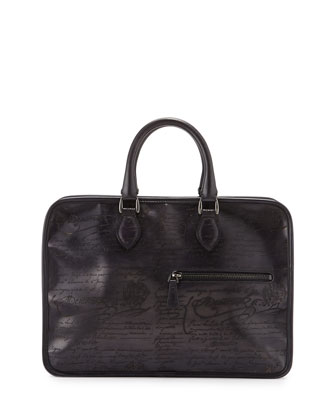 Un Jour Script-Embossed Leather Briefcase, Black