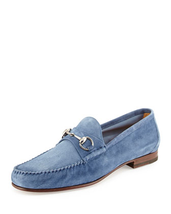 Unlined Suede Horsebit Loafer, Navy