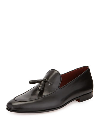Apron-Front Tassel Loafer, Black