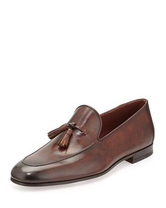 Leather Tassel Loafer, Medium Brown