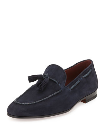 Suede Tassel Loafer, Navy
