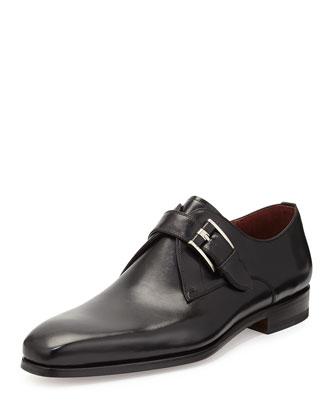 Leather Single Monk-Strap Shoe, Black