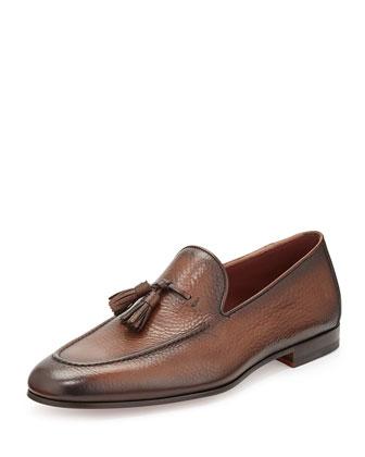 Pebbled Tassel Loafer, Medium Brown