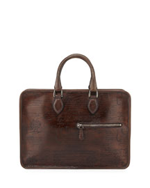 Un Jour Scritto Leather Briefcase, Brown
