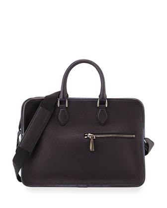 Deux Jours Double-Zip Leather Briefcase, Black